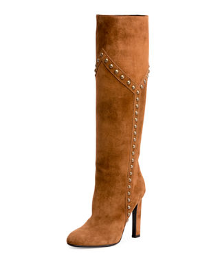 Saint Laurent Studded Suede 105mm Knee Boot