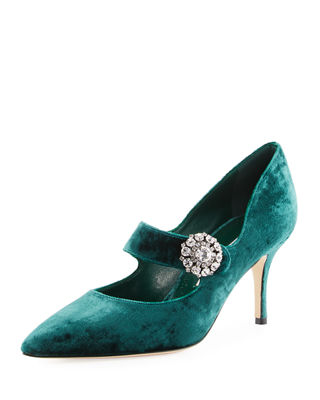 Verna Velvet Crystal-Buckle Mary Jane Pump