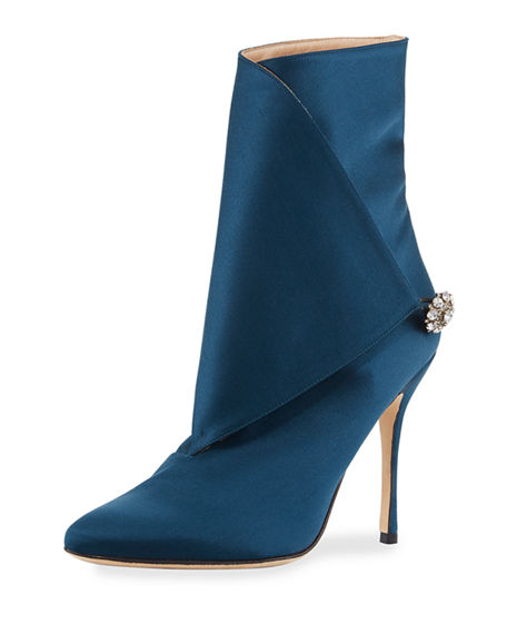 Cheap Sale Pay With Visa Manolo Blahnik Embellished Satin Ankle Boots Visit For Sale J12yRL8