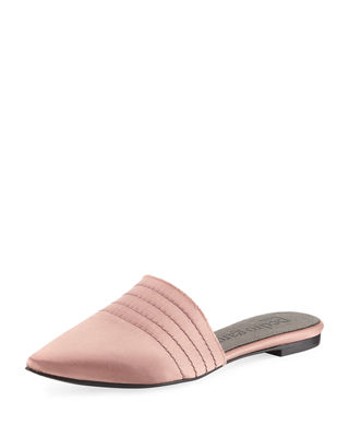 Image 1 of 4: Amy Satin Flat Point-Toe Mule