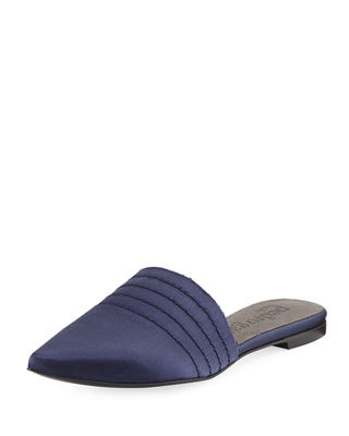 Amy Satin Flat Point-Toe Mule