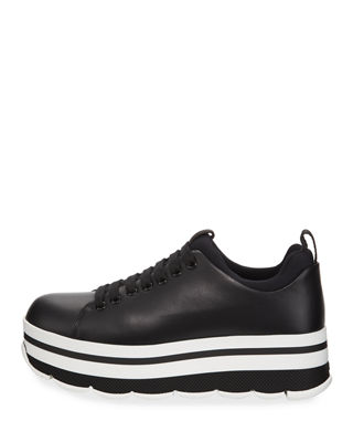 Image 2 of 4: Leather Lace-Up Platform Sneaker