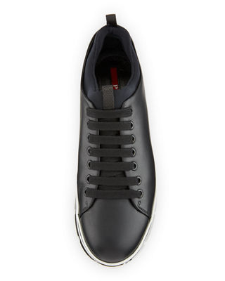 Image 3 of 4: Leather Lace-Up Platform Sneaker