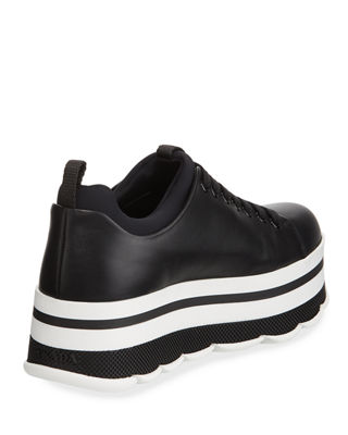 Image 4 of 4: Leather Lace-Up Platform Sneaker