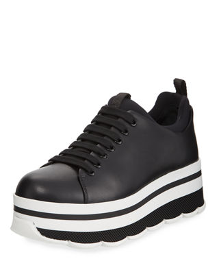 Image 1 of 4: Leather Lace-Up Platform Sneaker