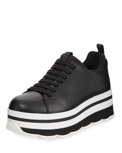 Prada Linea Rossa Leather Lace-Up Platform Sneaker
