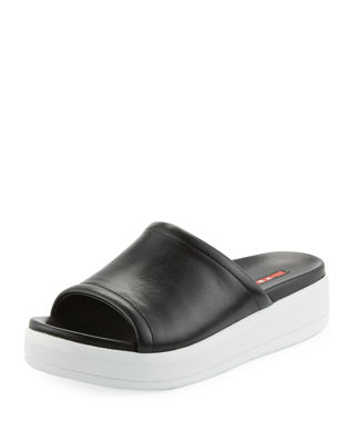 Prada Sport Leather Slide Sandals