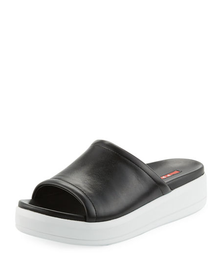 Prada Sport Leather Slide Sandals 100% guaranteed cheap price for sale footlocker prices cheap price Rqy6eOxjsq