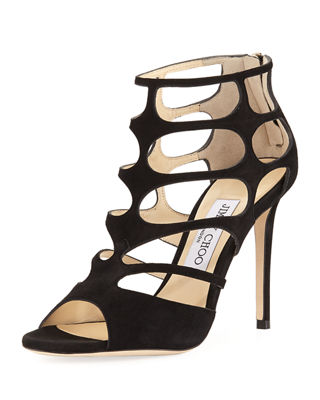 Jimmy Choo Ren Suede Caged 100mm Sandal