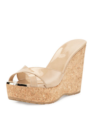 Perfume Patent Leather Crisscross Wedge