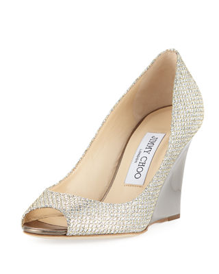 Jimmy Choo Baxen Glitter Peep-Toe Wedge Pump