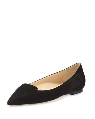 Jimmy Choo Pointed-Toe Suede Flats