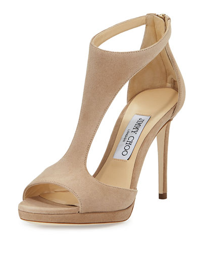 Lana Suede T-Strap 100mm Sandals