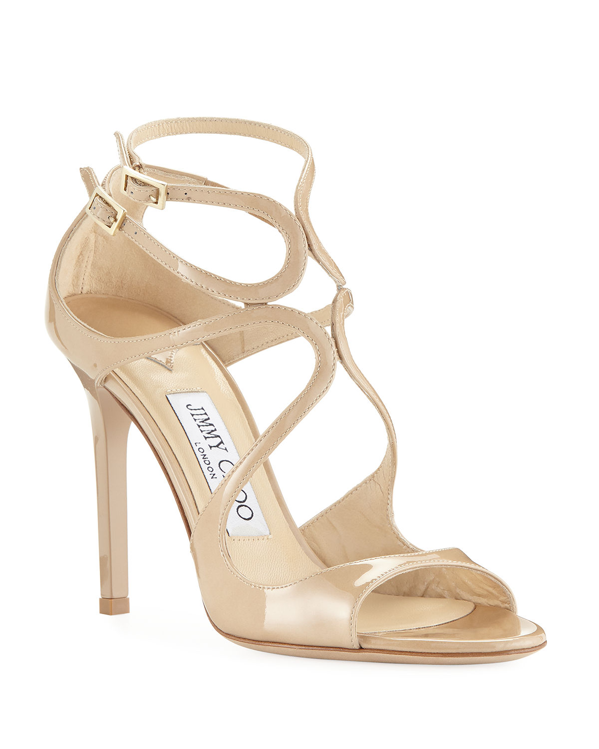 ad79076a86fda0 Jimmy Choo Lang 100mm Patent Strappy Sandals