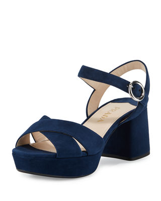 Prada Suede Crisscross Ankle-Wrap 65mm Sandal