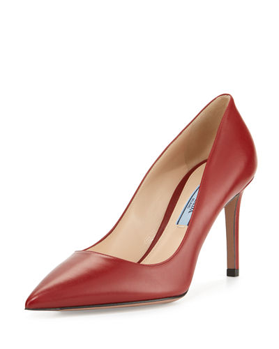 Prada Leather Pointed-Toe 85mm Pump