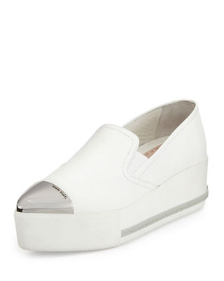 Miu Miu Leather Cap-Toe Platform Sneakers