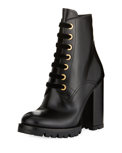 Prada Vitello Leather Lace-Up Bootie