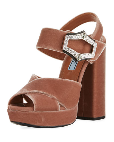 Jeweled Velvet Block-Heel Sandal