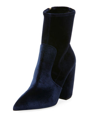 Stretch-Velvet Zip 100mm Bootie