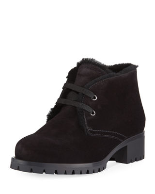 Shearling-Trim Suede Winter Desert Boots in Nero