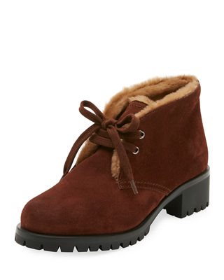 Shearling-Trim Suede Winter Desert Boots, Brown
