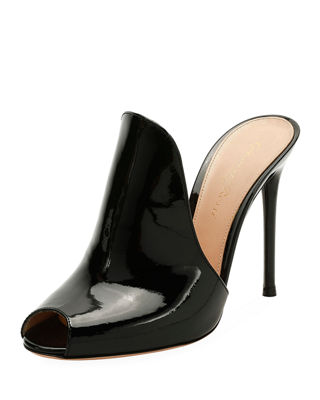 GIANVITO ROSSI 105Mm Patent Leather Mule Sandal, Black
