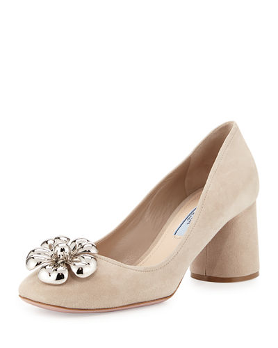 Ornament-Embellished Suede Pump