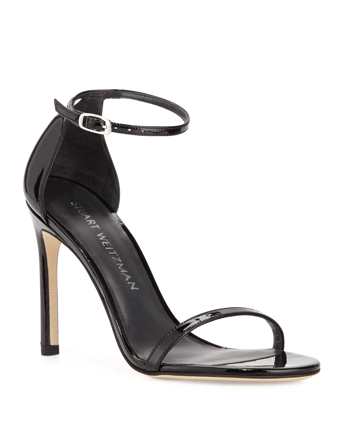 Stuart Weitzman Sandals NUDISTSONG PATENT ANKLE-WRAP SANDALS