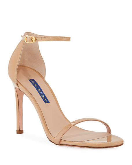 Image 1 of 6: Stuart Weitzman Nudistsong Patent Ankle-Wrap Sandals