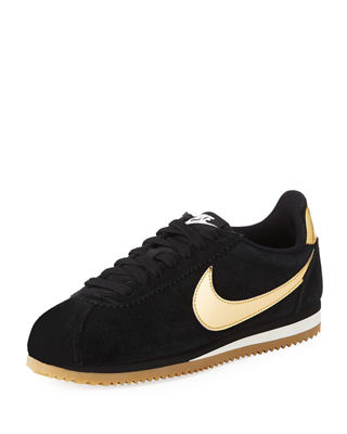 Women'S Classic Cortez Suede Lace Up Sneakers, Black/Gold