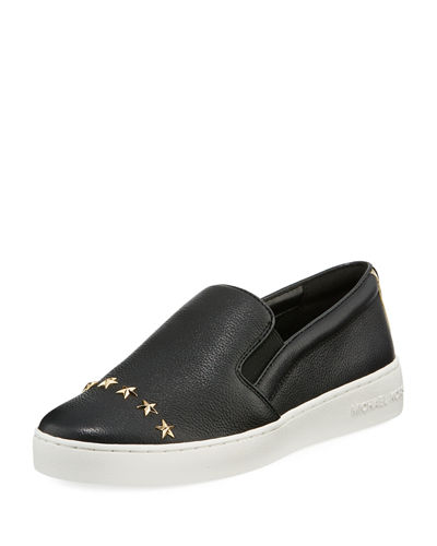MICHAEL Michael Kors Keaton Star-Studded Leather Slip-On Sneaker
