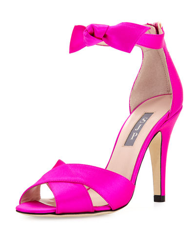 Buckingham Satin Ankle-Tie Sandal