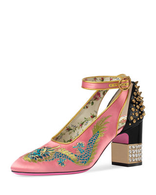 Caspar Embroidered Satin Ankle-Wrap Pump