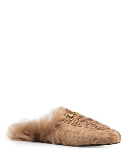Princetown shearling-lined velvet loafers Gucci UT6WC