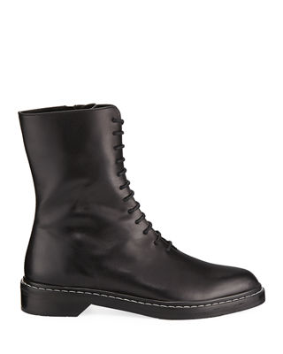 Fara Lace-Up Leather Combat Boot