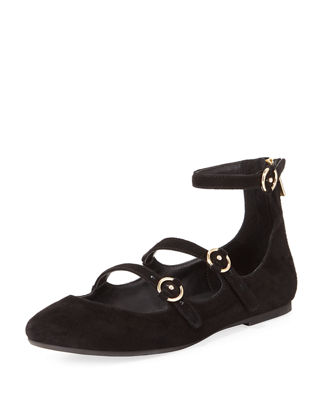 Image 1 of 4: Helene Strappy Suede Ballerina Flat