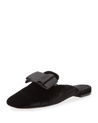 Jean Velvet Mule with Grosgrain Bow