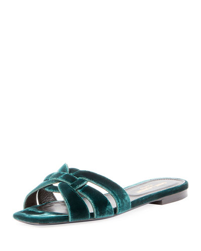 Saint Laurent Tribute Flat Velvet Slide Sandal