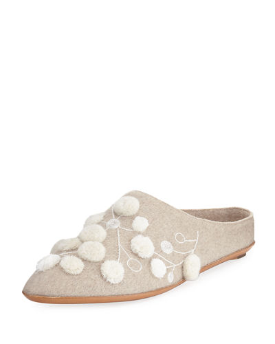 THE ROW Bea Embroidered Cashmere Mule