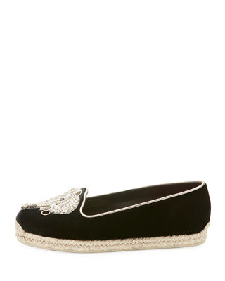 Image 2 of 2: Noemie Playa Velvet Red Sole Espadrille