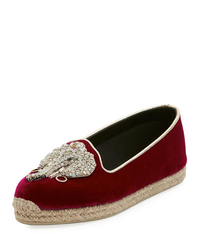 Christian Louboutin Noemie Playa Velvet Red Sole Espadrille