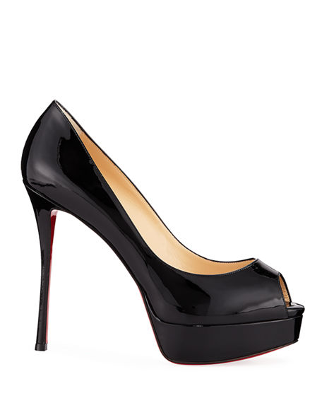 Image 2 of 3: Christian Louboutin Fetish Peep-Toe Platform Red Sole Pump