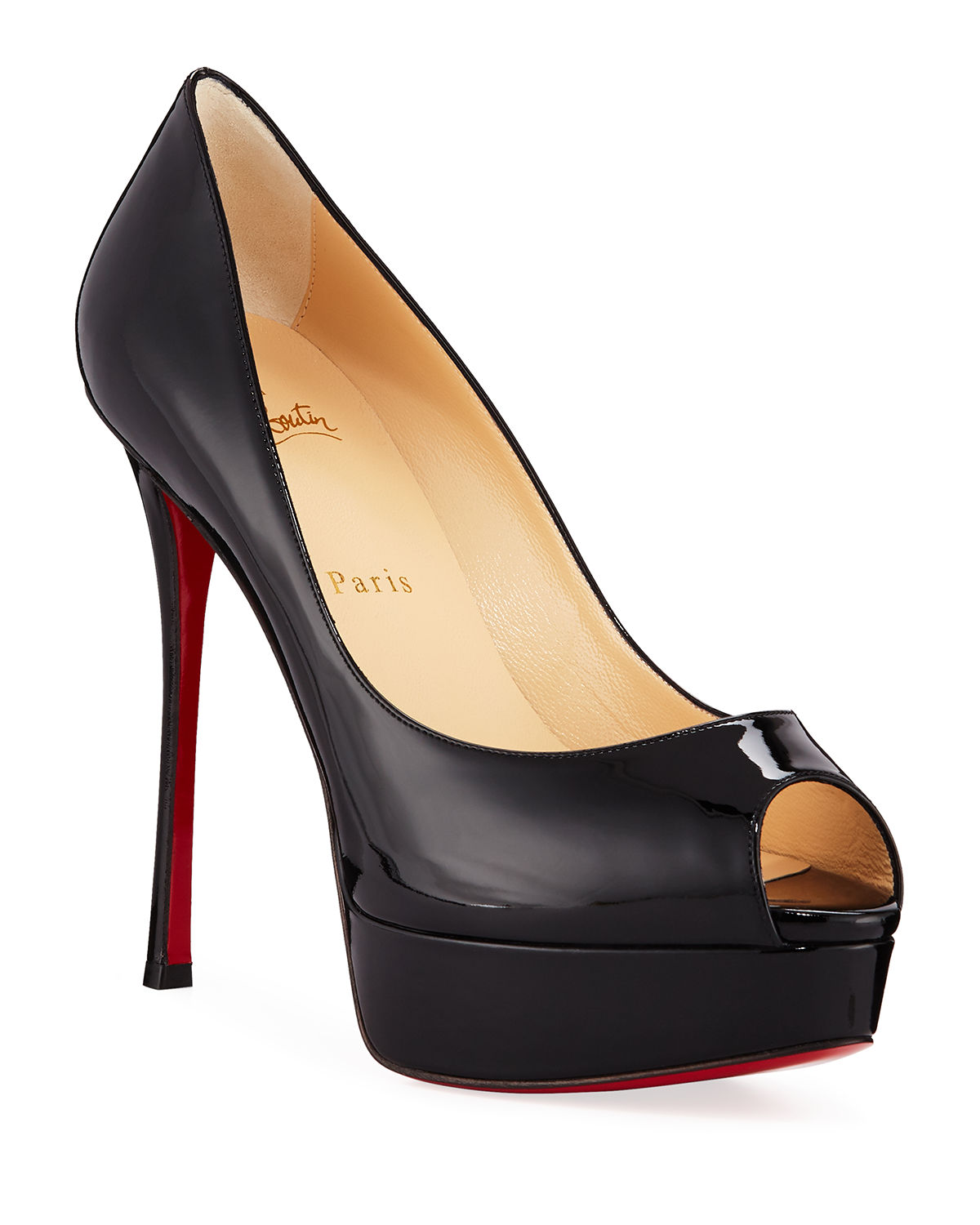 7a54083fba07 Christian Louboutin Fetish Peep-Toe Platform Red Sole Pump
