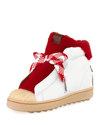 Image 1 of 5: Colorblock High-Top Platform Sneaker with Fur