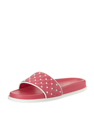 Image 1 of 4: Rockstud Quilted Pool Slide Sandal
