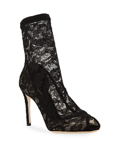 Lace Stretch 85mm Open-Toe Bootie