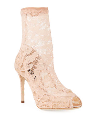 Stretch-lace And Tulle Sock Boots - Neutral Dolce & Gabbana