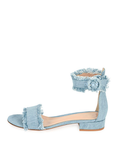 Lola Flat Frayed Denim Sandal