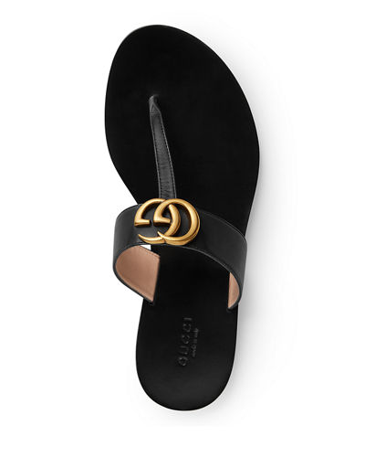 Gucci Flat Marmont Leather Thong
